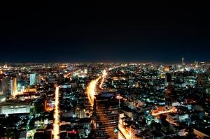 Silom Road Bangkok from State Tower