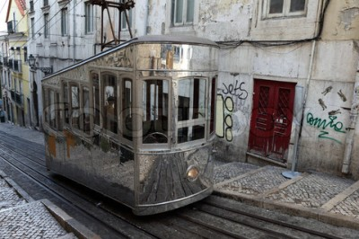 Old cable car in the street of Lisbon, Portugal