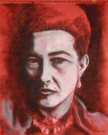 portrait pastel Simone de Beauvoir