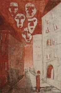 Franz Kafka - Der Prozess - Gesichter über der Stadt  (faces over the town)