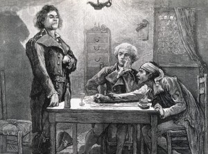 DANTON, ROBESPIERRE, AND MARAT IN THE WINE SHOP.