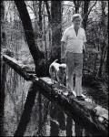 Bill Styron walking with Aquinnah, Roxbury, Connecticut, April 29,1979
