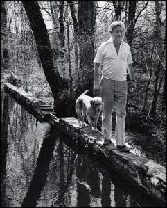 Bill Styron walking with Aquinnah, Roxbury, Connecticut, April 29, 1979