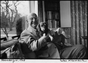 P.G. Wodehouse with his Dachshund, Jed, Remsenberg, NY, February 21, 1973