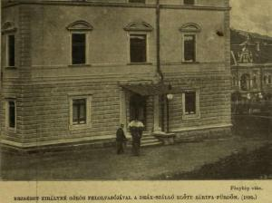 Elisabeth with her greek teacher - reader Constantin Christomanos, I think in front of the Deák-'Hotel' in Bártfa-Fürdő