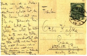 a postcard which Kafka wrote to Ottla from Riva del Garda.