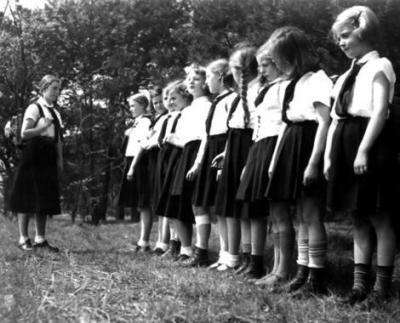 Girls' brigade ... an undated photograph of young members of the Hitler youth during a Sunday outing.