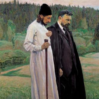 Philosophers Pavel Florensky and Sergei Bulgakov, a painting by Mikhail Nesterov (1917)_