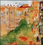 «Θεσσαλονίκη, όπισθεν κατοικιών». Ακουαρέλλα, 1949. Συλλογή Γ. Ν. Πεντζίκη (φωτ. Φ.Σαρρή)