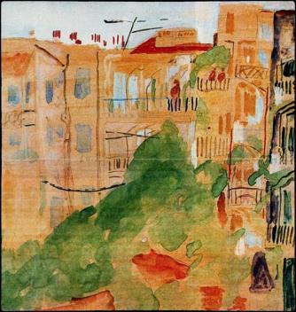 «Θεσσαλονίκη, όπισθεν κατοικιών». Ακουαρέλλα, 1949. Συλλογή Γ. Ν. Πεντζίκη (φωτ. Φ. Σαρρή)