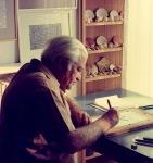 Ο Νίκος Γαβριήλ Πεντζίκης στο γραφείο του [Βασ. Όλγας197]
