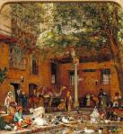 John Frederick Lewis – Study for The Courtyard of the Coptic Patriarchs House in Cairo