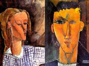 Amadeo-Modigliani-Portrait-of-Beatrice-Hastings-and-Portrait-of-Raymond-Radiguet