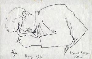 Raymond Radiguet endormi, dessin de Jean Cocteau 1922