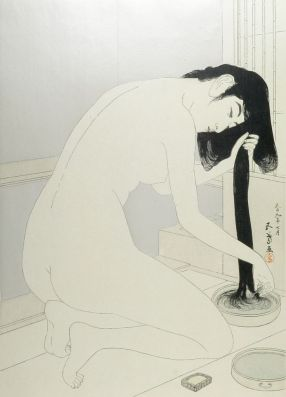 Female Bather Kneeling to Wash and Comb Her Hair, Taishô period, dated 1918
