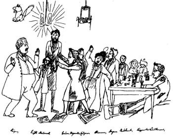 engels-caricature-of-the-free-the-berlin-group-of-young-hegelians-words-in-the-drawing-ruge-buhl-nauwerck-bauer-wigand-edgar-bauer-stirner-meyen-stranger-koppen-the-lieu