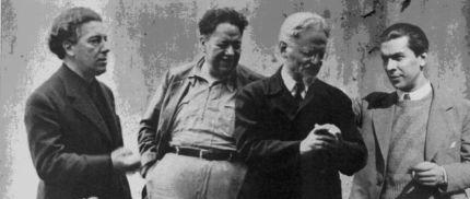 Ο Ανδρέας Εμπειρίκος (δεξιά) με τους Ντιέγκο Ριβέρα, Αντρέ Μπρετόν και Λέων Τρότσκι.