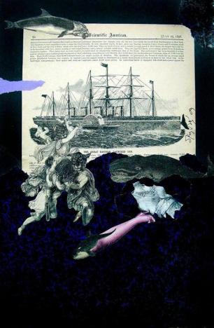 Το ναυάγιο του Μεγάλου Ανατολικού». Κολάζ (μελάνι και χαρτί) του Δημήτρη Καλοκύρη, 2007_