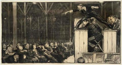 Sunday preaching by George Bellows, Metropolitan Magazine, May 1915