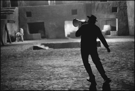 Federico Fellini on the set of Satyricon, phorographed by Mary Ellen Mark, 1969_