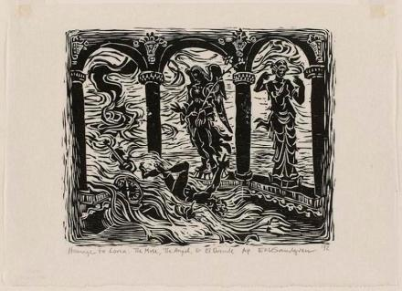 Erik Sandgren (American, born 1952), Homage to Lorca: The Muse, the Angel, and El Duende, 1992, woodcut on paper, The Vivian and Gordon Gilkey Graphic Arts Collection, © Erik Sandgren, 1997.228.218